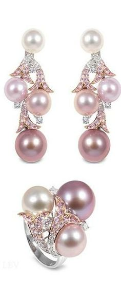 Yoko London ~ Pearl Ring & Earrings, Pink - by Cris Figueired♥