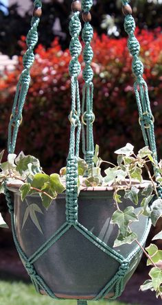 Handmade Sage Green Macrame Plant Hanger by ChironCreations, $23.00