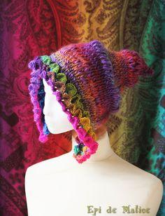Bonnet, capuche de fée, lutin, gnome, elfe, multicolore, arc-en-ciel. Style bohème, féerique, fantaisie, hippie : Chapeau, bonnet par epi-de-malice