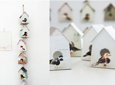 A really cute item that you could easily make for your wall.   I would suggest building the birdhouse from cardstock, and then cutting pictures of birds out of magazines and modge-podging them.