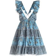 ZIMMERMANN Caravan Tiered Sun Dress (1.250 BRL) ❤ liked on Polyvore featuring dresses, sun dresses, tiered dresses, tiered ruffle dress, blue ruffle dress and floral dresses
