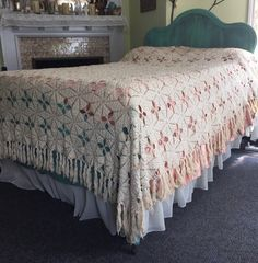 Vintage Crochet FULL Bedspread  Tea-Stained by GypsysClosetVintage