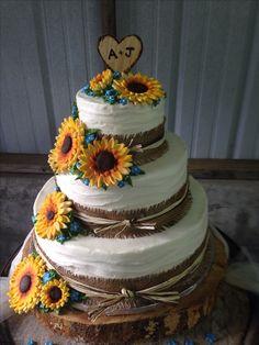 Sunflower yellow blue wedding cake three 3 tier country rustic burlap ribbon wavy texture textured LOVE!