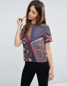 ASOS   ASOS Crop T-Shirt In Scarf Print