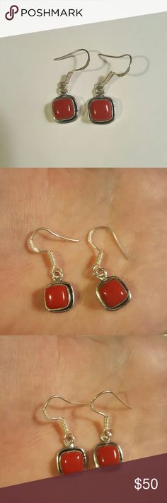 Sterling Red Corral Earrings Marked 925. Bought from fellow posher but weren't for me. So pretty though Jewelry Earrings