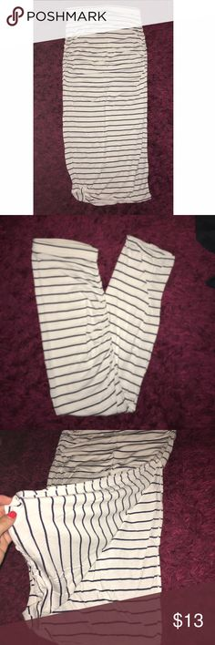 """White and Blue Striped Maxi Skirt Super cute and nautical maxi skirt. Jersey material super stretchy. Sides are ruched with a slit up left side. Skirt is a PETITE SMALL so is a little shorter than a regular small. I am 5'2"""" and this fits perfectly. Never worn just tried on. NWOT Victoria's Secret Skirts Maxi"""