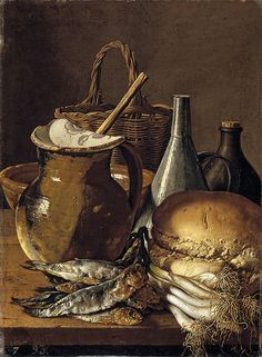 Luis Meléndez Still Life fish chives bread meadow various objects - Prado.