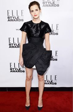 Emma Watson shows her love for black and white in this structured Giambattista Valli Couture Spring 2014 dress // #Style