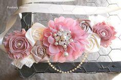 Maternity Sash, Baby Girl Maternity Sash, Pink Maternity Sash, Vintage Maternity Sash, Flower Sash, Vintage Pink, Taupe & Ivory