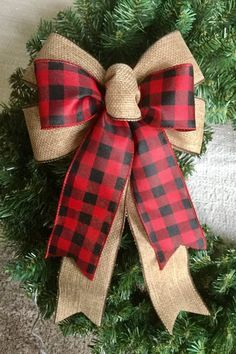 Buffalo plaid layered with burlap type Ribbon 9 wide BowEtsy :: Your place to buy and sell all things hand…Buffalo Plaid Home Decor - How to Add Plaid to your Home this HolidayYou will have a pretty wreath in only a couple of hours! Woodland Christmas, Plaid Christmas, Country Christmas, Christmas Holidays, Christmas Wreaths, Christmas Crafts, Christmas 2017, All Things Christmas, Christmas Ideas