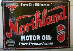 Red crown gasoline porcelain flange sign porcelain tin for Northland motor oils lubricants