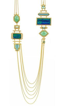 Jewelry OFF! Lauren Harper- Necklace gold blue and green tourmaline emeralds Boulder opals and diamonds Collier or tourmaline verte et bleue émeraudes opales diamants. Opal Jewelry, Jewelry Art, Antique Jewelry, Vintage Jewelry, Jewelry Accessories, Fine Jewelry, Jewelry Necklaces, Jewelry Design, Fashion Jewelry