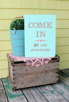 Fun Welcome sign- create easily with Hazel and Ruby peel-able stencil