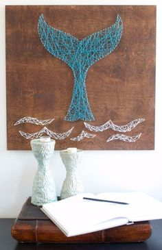 DIY String Art Projects - Whale Tail String Art - Cool, Fun and Easy Letters… #artsandcraftshomes, #EverydayArtsandCrafts