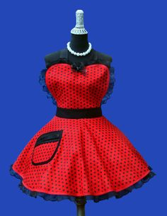 Apron  Womens Retro Aprons Betty Red Black by OnceUponAPoodle, $38.95