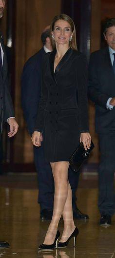Queen Letizia. Black tuxedo