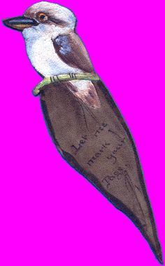 LEATHER BOOKMARK WITH BIRD    suede leather | painted and iron-burnt | 180 mm