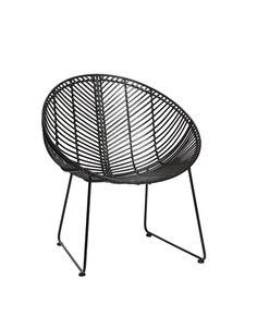 Chair, round, rattan, black Hübsch – Trend-On-Line Rattan, Interiors, Chair, Furniture, Black, Home Decor, Wicker, Decoration Home, Black People