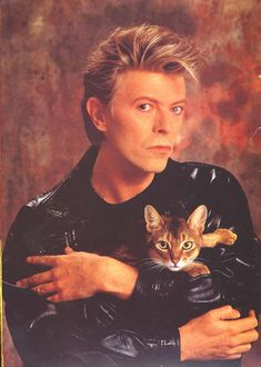 We have Tumblr to thank for keeping this portrait of David Bowie with a cat in circulation. Description from brit.co. I searched for this on bing.com/images