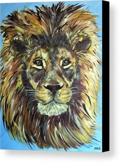 "Braveheart - African Male Lion: An acrylic painting of a lion printed on to premium stretched canvas over a wooden frame by Kelly Goss Art. Delivered ""ready to hang"". Perfect to brighten up and decorate your home. Fit for any wall in any room. The special gift to spice up a friend's home decor. For a lover of animals and African wildlife art."