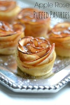 These Apple Rose Puffed Pastries are a simple yet elegant way to serve a unique dessert. These Apple Rose Puffed Pastries are a simple yet elegant way to serve a unique dessert. Unique Desserts, Mini Desserts, Just Desserts, Delicious Desserts, Dessert Recipes, Beautiful Desserts, Puffed Pastry Desserts, Easy Dinner Party Desserts, Apple Desserts