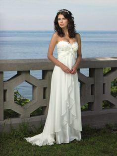 Lace Sweetheart Wedding Dresses | Lace Trimmed Empire Sweep Train Chiffon Sweetheart Destination Wedding Dress - Didobridal