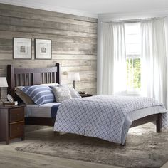 Complete your bedroom with this full size Shaker bed in an espresso or cherry finish. Made of solid wood, this bed has a natural look that will act as a stunning centerpiece in your bedroom.