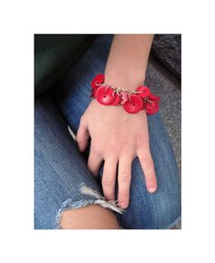 Jewelry Charm Bracelet Buttons  Rich Red Hues by LovesParisStudio, $30.00