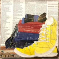 """Val Braun Art – Winnipeg Artist yellow runner, 12x12"""" collage Mixed Emotions, Best Jeans, Cotton Socks, Comfortable Outfits, High Top Sneakers, Mixed Media, Collage, Yellow, Artist"""