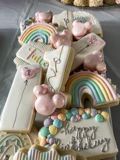 First Birthday Cookies, Rainbow First Birthday, First Birthday Party Themes, Minnie Birthday, Girl Birthday, Gender Reveal Cookies, Disney Cookies, Paint Cookies, Sweet Box