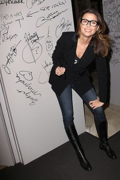 Bridget Moynahan Style, Clothes, Outfits and Fashion - CelebMafia Black Riding Boots, Leather Riding Boots, Black Boots, Leather Pants, 70s Fashion, Fashion Boots, Womens Fashion, Bridget Moynahan, Latest Outfits