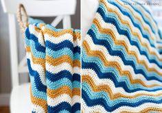 Wave Crochet Blanket Pattern Crochet Hooks, Free Crochet, Knit Crochet, Crocheted Afghans, Crochet Blankets, Cottage Design, Crochet Projects, Crochet Ideas, Crochet Blanket Patterns