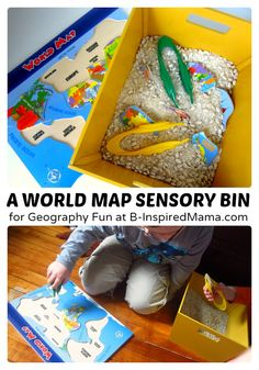 Make #geography for #kids FUN with a simple World Map Puzzle #Sensory Bin! - #homeschool #kbn