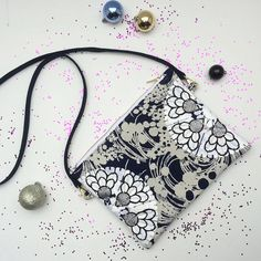 Items similar to Embellished SHOULDER BAG in navy and white vintage fabric with a white gloss print and silver glitter jewels. on Etsy Clutch Bags, Recycled Fabric, Silver Glitter, Navy And White, Shoulder Bag, Jewels, Purses, Pattern, Handmade