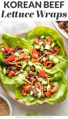 Use ground beef to make these Korean Beef Lettuce Wraps in less than 20 minutes! Delicious, healthy, easy to make; great for meal prep, too! Easy Lettuce Wraps, Korean Beef, Wrap Recipes, Mediterranean Recipes, Meals, Lunches And Dinners, Healthy Recipes, Healthy Food, Ground Beef
