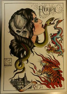Traditional/old school tiger and dragon tattoo flash