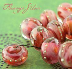 flamingo silver round strand 20 glass beads