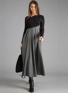 FloryDay / Color Block Ruffles Long Sleeve Midi A-line Dress Modest Fashion, Hijab Fashion, Fashion Outfits, Womens Fashion, Fashion Trends, Latest Fashion Dresses, Winter Dresses, Casual Dresses, Kleidung Design