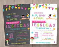 Check out our gymnastics birthday selection for the very best in unique or custom, handmade pieces from our invitations shops. Gymnastics Birthday, 7th Birthday, Birthday Parties, Birthday Ideas, Photo Invitations, Digital Invitations, Birthday Invitations, Invite, Party