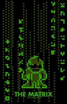 Matrix em 8-bits  by Eric Palmer http://www.behance.net/gallery/8-Bit-Movie-Posters/722366