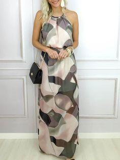 Vestido longo estampado - Flávia Christina