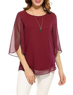 Enjoy exclusive for ACEVOG Womens Casual Chiffon Ladies Scoop Neck Sleeve Layered Chiffon Flowy Blouse Shirt Tops online - Findanew Red Blouses, Shirt Blouses, Shirts, Fashion Blouses, Chiffon Shirt, Chiffon Tops, Outfit Jeans, Loose Tops, Loose Fit