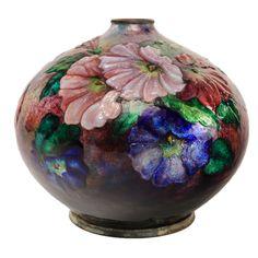 """Art Nouveau Enameled """"Petunia"""" Floral Vase by Camille Fauré"""