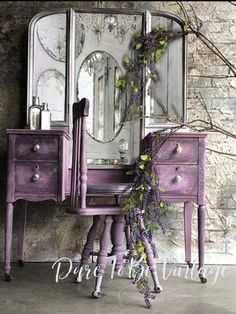 Vintage Vanity - Shabby Chic Vanity - Vintage Makeup Vanity - Dressing Table - P. - - Vintage Vanity - Shabby Chic Vanity - Vintage Makeup Vanity - Dressing Table - Purple - Painted Vanity - Rustic Elegance by DareToBeVintage. Shabby Chic Rustique, Rustikalen Shabby Chic, Shabby Chic Vanity, Shabby Chic Living Room, Shabby Chic Homes, Rustic Vanity, Shabby Vintage, Shabby Chic Dressers, Rustic Makeup Vanity