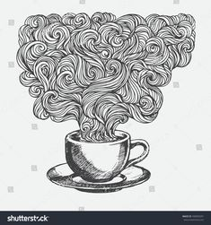Hand-drawn cup of coffee with ethnic ornaments doodle pattern. Vector illustration Henna Mandala Zentangle stylized for Cover book or card, tattoo more. Design for spiritual relaxation for adults.
