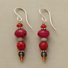 """DESERT DUSK EARRINGS--Danglers of carnelian, ruby and smoky quartz, amasonite and cherry jade capture the colors of shifting sands under a setting sun. Sterling silver granulation disks and French wires. Exclusive. Handmade in USA. 1-3/8""""L."""