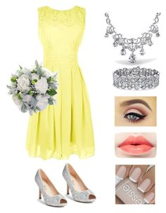 """bridesmaid dresses, yellow and silver"" by sarah-marie-bowler on Polyvore featuring Lauren Lorraine, Bling Jewelry, Palm Beach Jewelry, women's clothing, women's fashion, women, female, woman, misses and juniors"