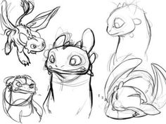 Toothless - How to Train Your Dragon. Character design sketches by Chris Sanders.