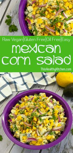 Your favourite #Mexican #corn #salad made using #dairyfree cashew cream for a unique twist on a classic. This oil free salad is refreshing and immensely tasty. #plantbased #oilfree #vegan #cornsalad #partyfood #bbq #sidedish #mexicanfood #glutenfree
