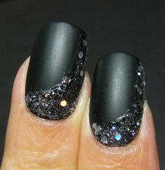 Matte black with holo glitters